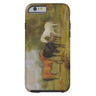 Horses Grazing: Mares and Foals in a Field (oil on Tough iPhone 6 Case