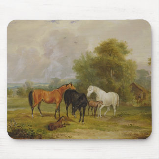 Horses Grazing: Mares and Foals in a Field (oil on Mousepad