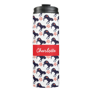 Horses Hearts and Roses Pattern Thermal Tumbler