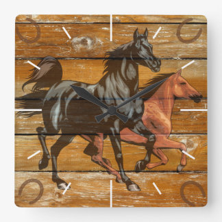 Horses Horseshoes Barn Wood Cowboy Square Wall Clock