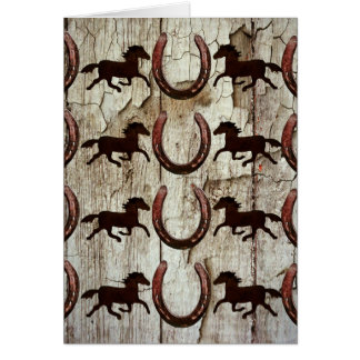 Horses Horseshoes on Barn Wood Cowboy Gifts Card