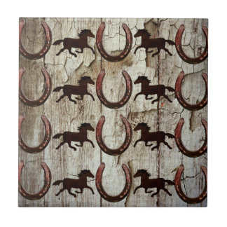 Horses Horseshoes on Barn Wood Cowboy Gifts Small Square Tile