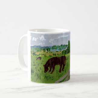 Horses in a lovely pasture mug