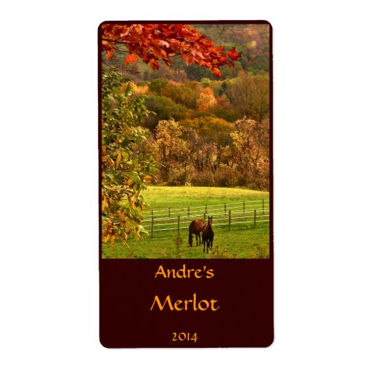 Horses in Autumn Animal Wine Label