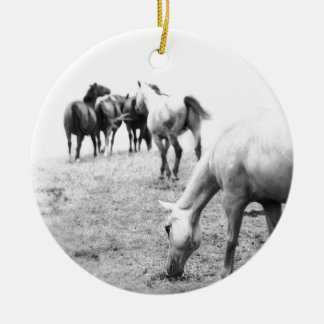 Horses in Black and White 2 Photography Round Ceramic Decoration