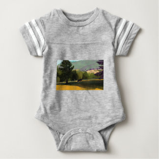 HORSES IN FIELD BABY BODYSUIT