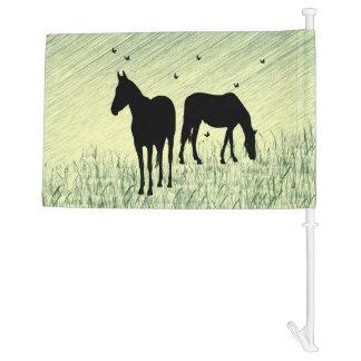 Horses in Field Car Flag