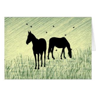 Horses in Field Card
