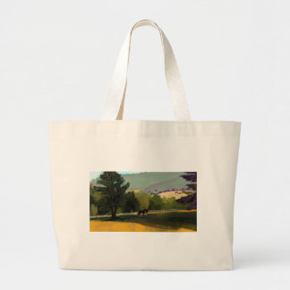 HORSES IN FIELD LARGE TOTE BAG