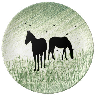 Horses in Field Plate