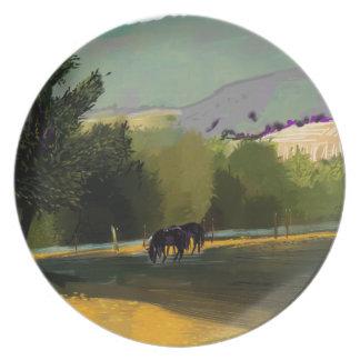 HORSES IN FIELD PLATE