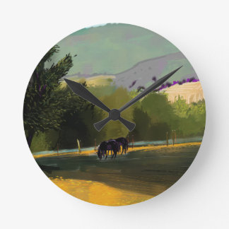 HORSES IN FIELD ROUND CLOCK