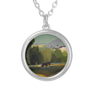 HORSES IN FIELD SILVER PLATED NECKLACE