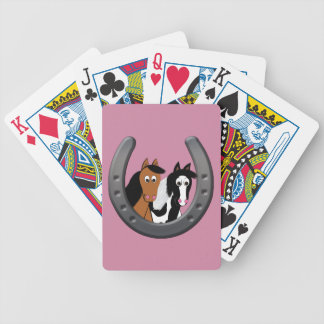 horses in horseshoe bicycle playing cards