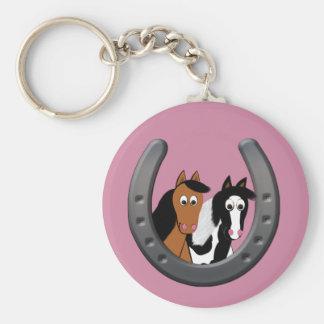 horses in horseshoe key ring