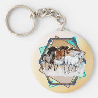 Horses In Snow  Keychain