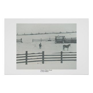 Horses in Snowy Corral Poster
