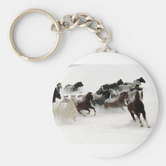 Horses in the snow basic round button key ring