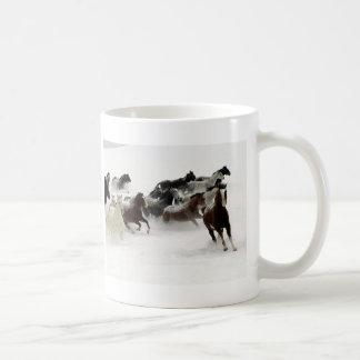 Horses in the snow basic white mug