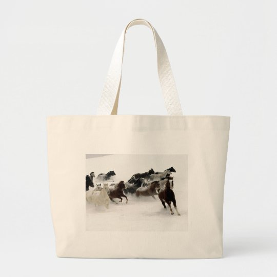 Horses in the snow large tote bag