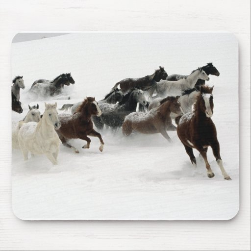 Horses in the snow mouse mats