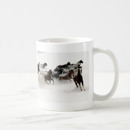 Horses in the snow coffee mugs