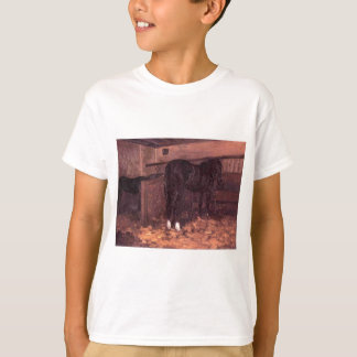 Horses in the Stable by Gustave Caillebotte T-Shirt