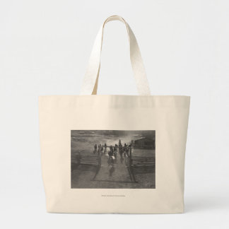 Horses into the corral large tote bag