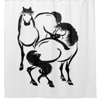 Horses Japanese Sumi-e Painting Your Custom Colour Shower Curtain