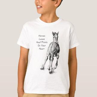 Horses Leave Hoofprints On Your Heart: Pencil Art T-Shirt