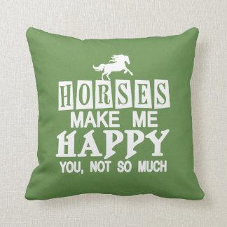 Horses Make Me Happy Cushion