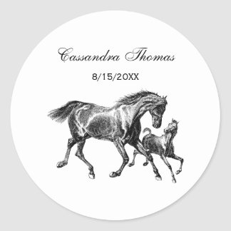 Horses Mother Baby Foal Envelope Seals Favor Tags