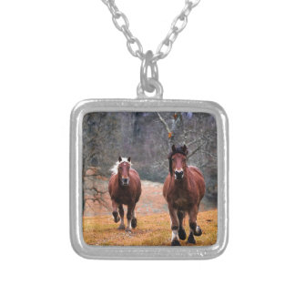 Horses Nature Silver Plated Necklace