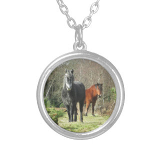 Horses of The Forest 1 Silver Plated Necklace