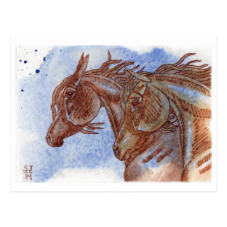 Horses On Lapis Lazuli Watercolor Wash Post Card