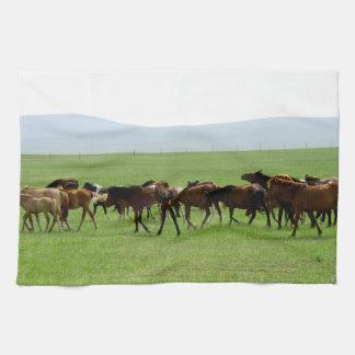 Horses on Pasture - Landscape Photograph Tea Towel
