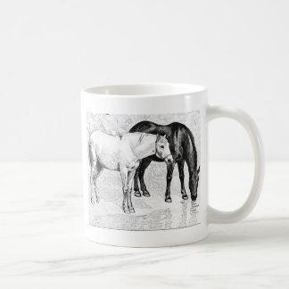horses,pencil drawn coffee mug