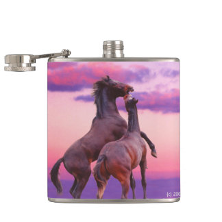 Horses playing sunrise Flask
