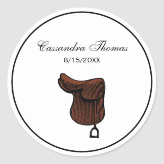 Horses - Preppy Equestrian Tack Saddle Color Classic Round Sticker