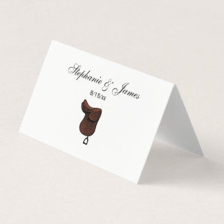 Horses - Preppy Equestrian Tack Saddle Color Place Card