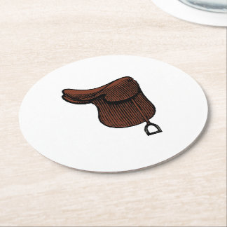 Horses - Preppy Equestrian Tack Saddle Color Round Paper Coaster