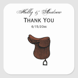 Horses - Preppy Equestrian Tack Saddle Color Square Sticker