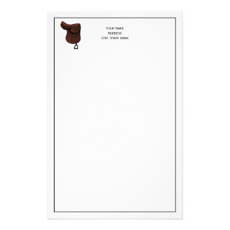 Horses - Preppy Equestrian Tack Saddle Color Stationery