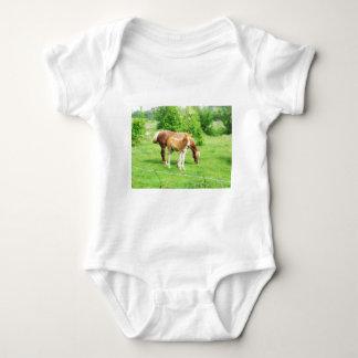 Horses relaxing in the field baby bodysuit