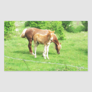 Horses relaxing in the field rectangular sticker