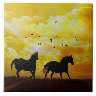 Horses Running Art Tile