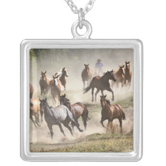 Horses running during roundup, Montana Square Pendant Necklace