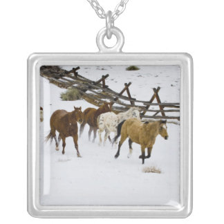 Horses Running in Snow Square Pendant Necklace