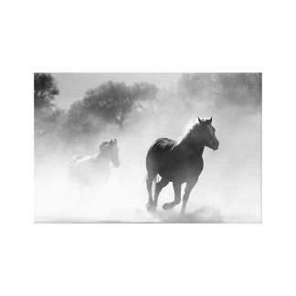 Horses Running through Fog in Black and White Canv Canvas Print