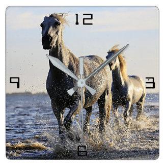 Horses Running Through Water Mural Wall Clock